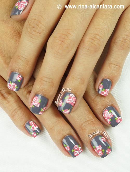 Vintage Pink Roses Nail Art Design