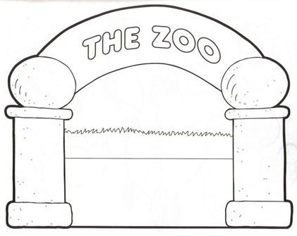 Zoo entrance coloring pagesZoo Entrance Coloring Page