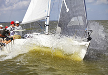 J/80 one-design sailboat- sailing Galveston Bay, Houston, Tx