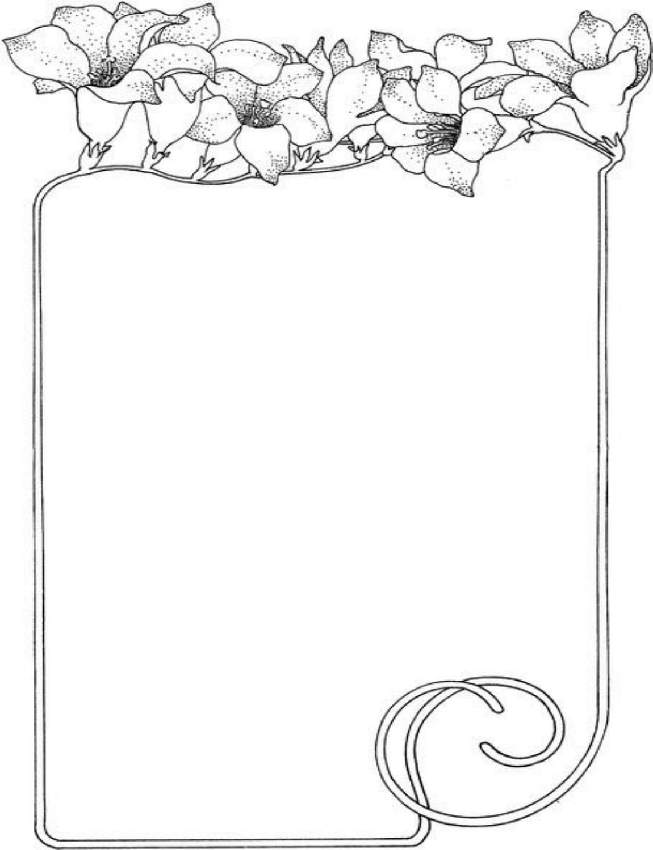 حاشیه بر آچار Flowers As The Frame Decoration Coloring Page - Home & Housework - Decorations Coloring Pages Design - Coloring Pages Gallery On