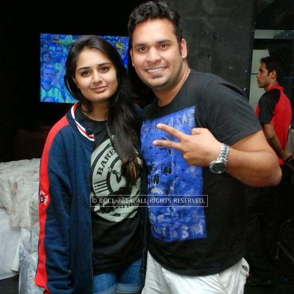 Tarushi and Gaurav during the special screening of the FIFA World Cup 2014 finals, held at Le Meridien, in Bangalore.