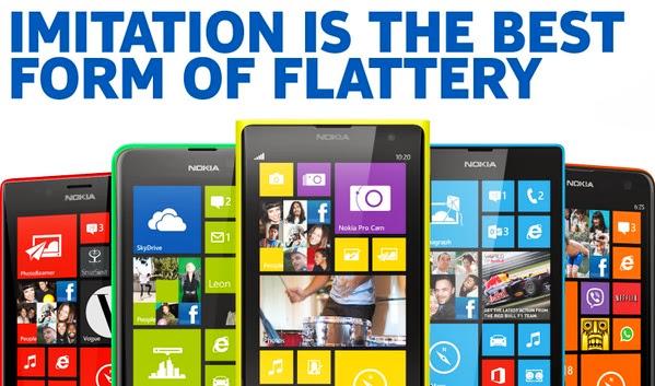 'La imitación es la mejor forma de adulación'… Con este lema, Nokia ataca a Apple
