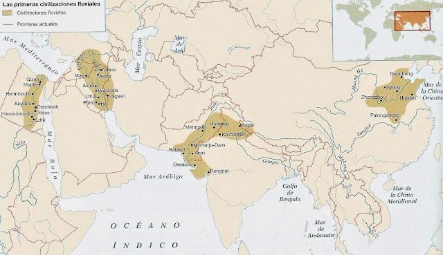 Historia de las civilizaciones: Mapa de las civilizaciones fluviales