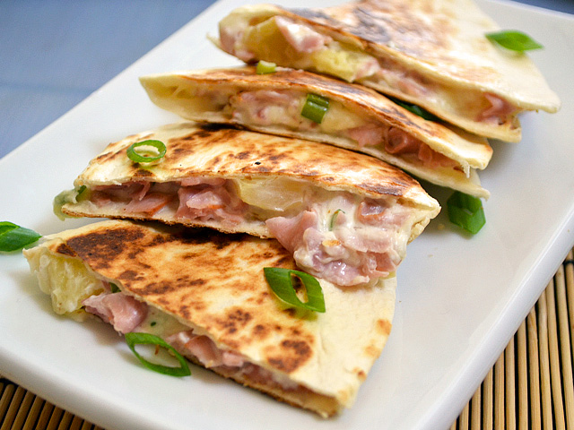 Hawaiian Ham Quesadillas - Budget Bytes