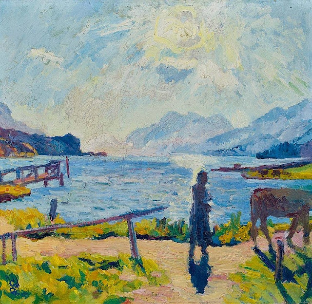 Giovanni Giacometti - Morning sun on the lake Sils. 1924