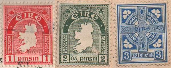 three Irish stamps