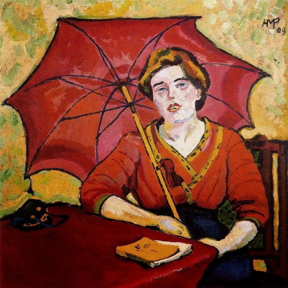 Max Pechstein - Girl in Red with a Parasol