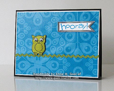 Hooray Owl Card made with wrapping paper