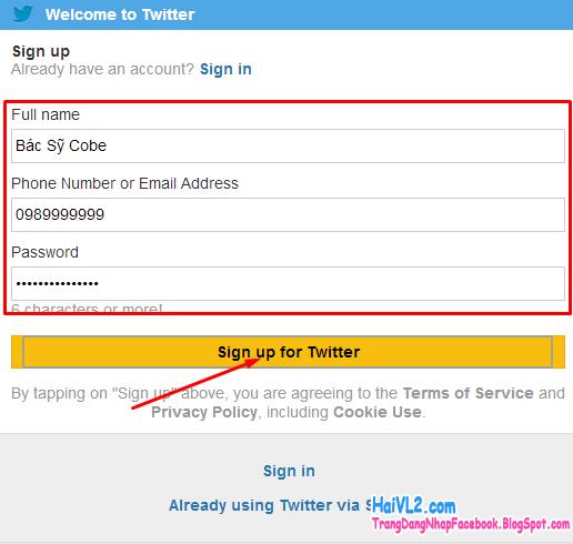 đăng ký twitter bước 3