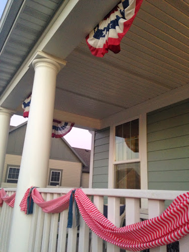 Red and white striped banner, 4th of July porch