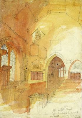 """""""Little Shelford Church before the ingle large arch was built about year 1855."""" From A Record of Shelford Parva by Fanny Wale P52"""