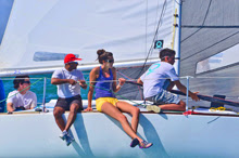 women sailing J/24s in Miami, FL