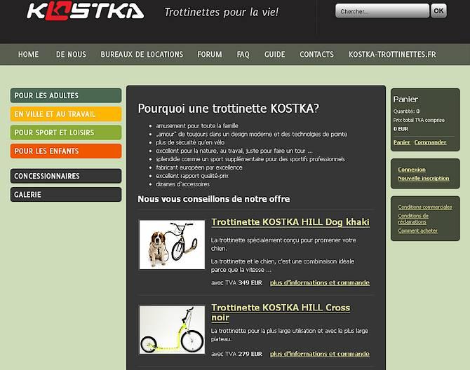 vue du e-shop en français de la marque de trottinettes tcheques Kostka