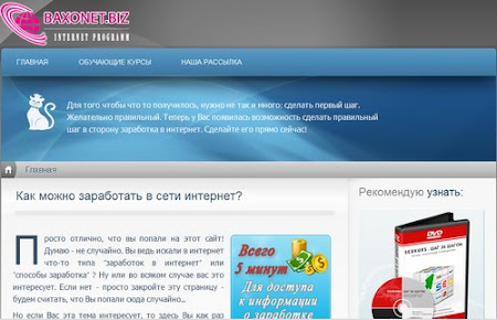 Заработок на партнерках сайта Baxonet | ваш личный сайт