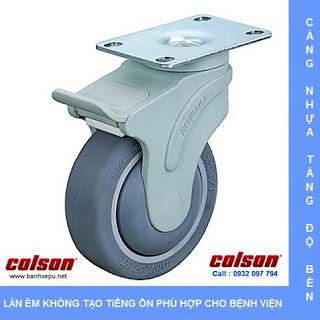 Bánh xe đẩy cao su STO lắp tấm chịu tải trọng (70~100kg) www.banhxepu.net