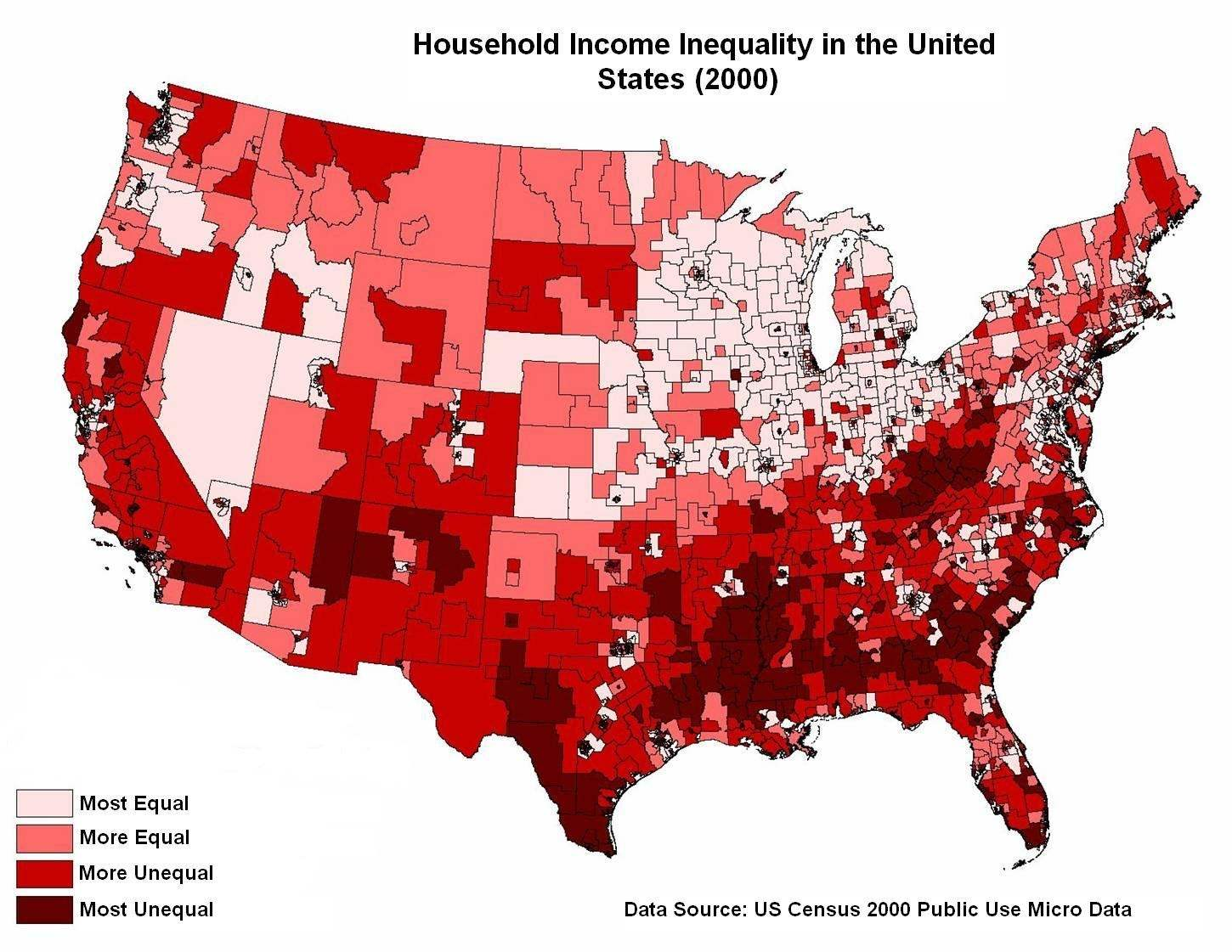 US Income Inequality Vs Household Income Online Marketing Trends - Us census income map
