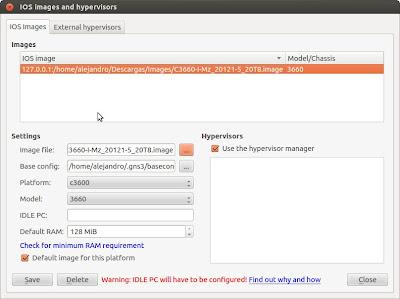 2. Añadir la imagen IOS del router Cisco de la serie c3600 que vamos a utilizar