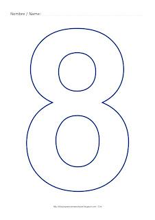 Dibujo para colorear y pintar el número ocho en color azul