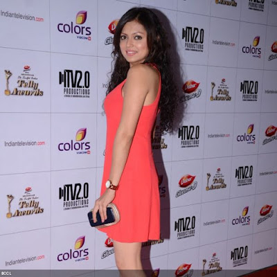 Drashti Dhami looked gorgeous in an orange dress during the 12th Annual Indian Telly Awards, held in Mumbai.