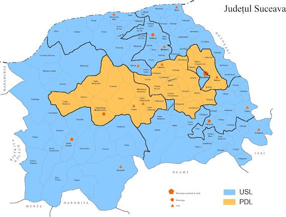 Harta judeţului Suceava - USL a câştigat 11 din cele 14 colegii de parlamentari, la votul politic pentru CJ