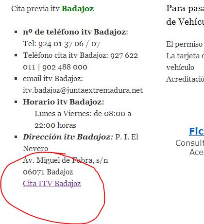 cita itv online Extremadura