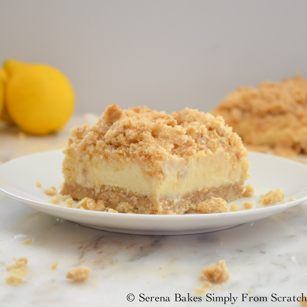 lemon cheesecake filling with a crumb topping make these Creamy Lemon ...