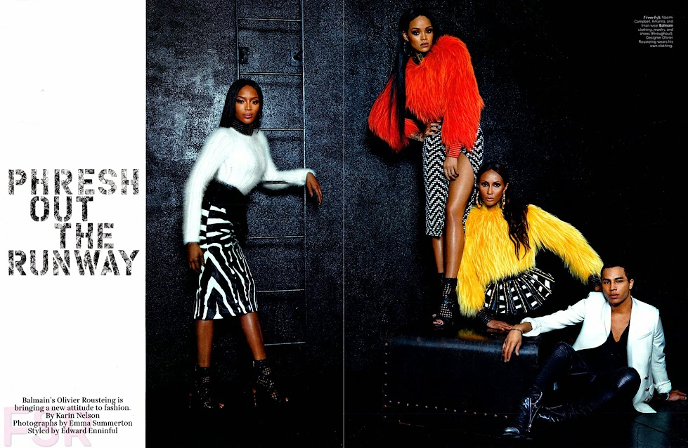 Balmain, advertorial W Magazine FW-2014: Naomi Campbell, Iman & Rihanna