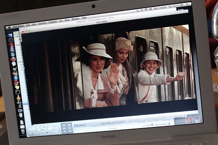 movie still of three sisters waving from a train