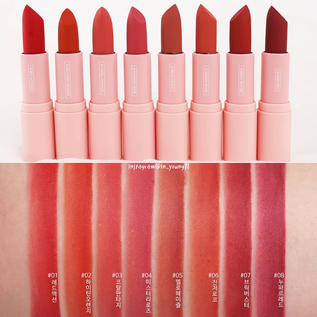 Bảng màu son Lilybyred Mood Cinema Matte Ending Lipsticks