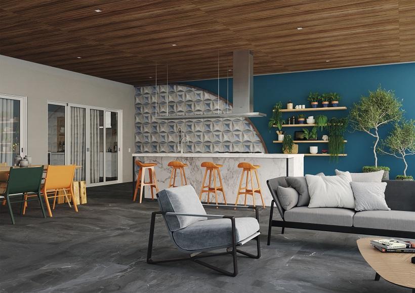 Sala com área gourmet anexa, para ampliar as possibilidades de lazer.