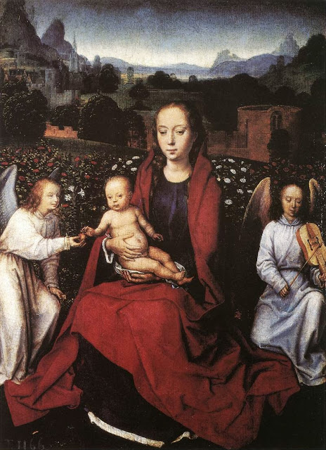 Hans Memling - Virgin and Child in a Rose-Garden with Two Angels