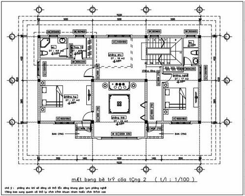 Mặt bằng bố trí của tầng 2
