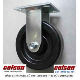 Bánh xe Phenolic chịu nhiệt càng cố định 150mm Colson Mỹ | 4-6108-339