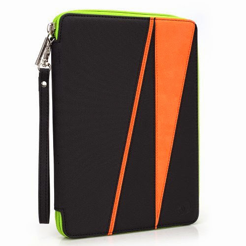 GizmoDorks Travel Folio Zipper Stand Case Cover Pouch for Archos 70d eReader with Carabiner Key Chain - Orange