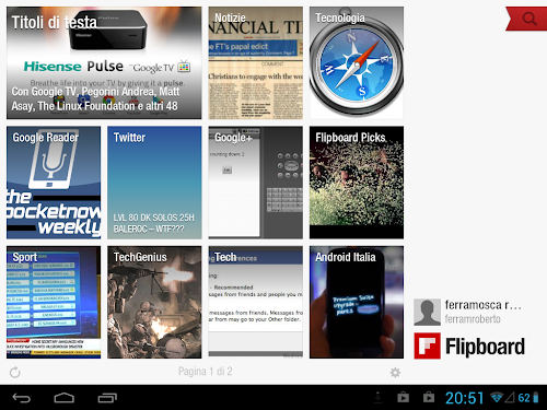 Flipboard su Tablet Android