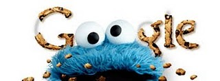 """Doodle de Google con """"the Cookie Monster"""" (Triki, el monstruo de las galletas) para conmemorar el 40 aniversario de Barrio Sésamo (Sesame Street)"""