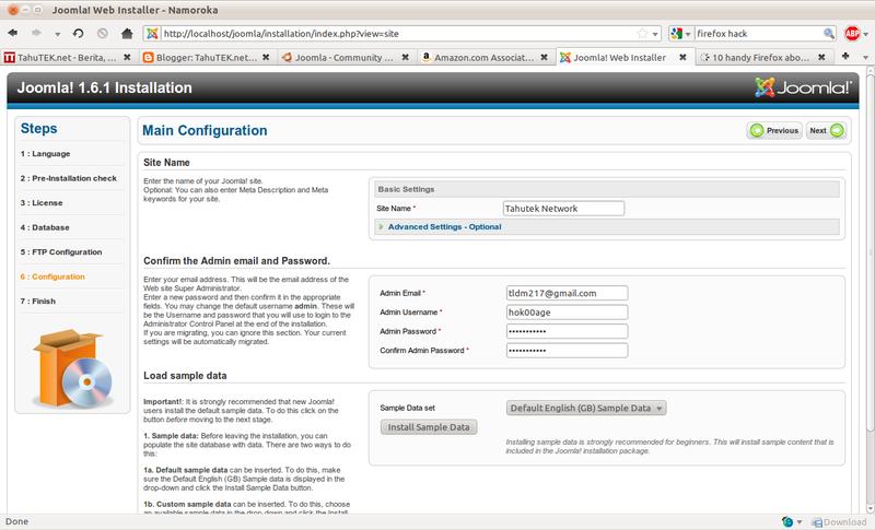 Informasi tentang website, email, dan login admin