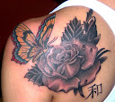Butterfly and Rose Tattoo Ideas 4