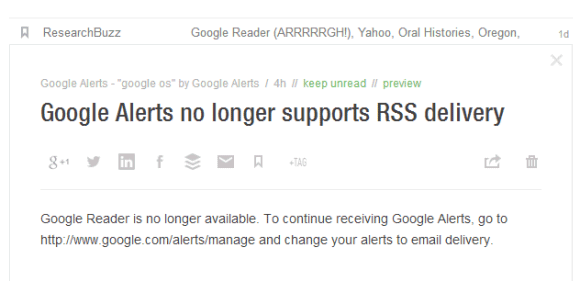 Google Alerts No RSS