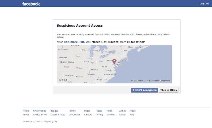 My facebook account was hacked into, unauthorized login