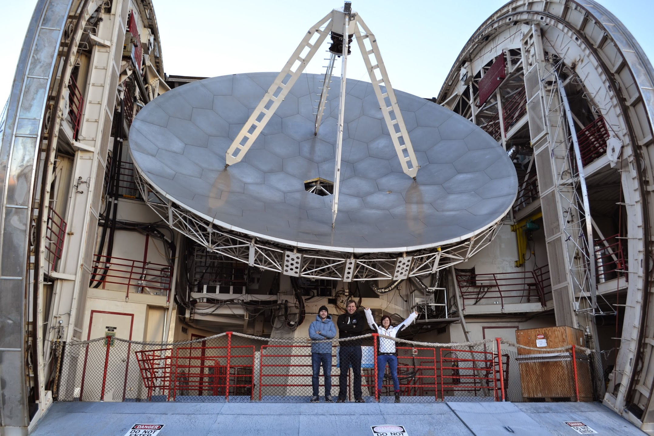 CSO dish with astronomers in front