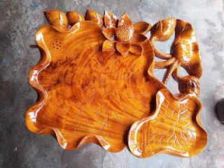 Khay trà lá sen gỗ hương mẫu KT16