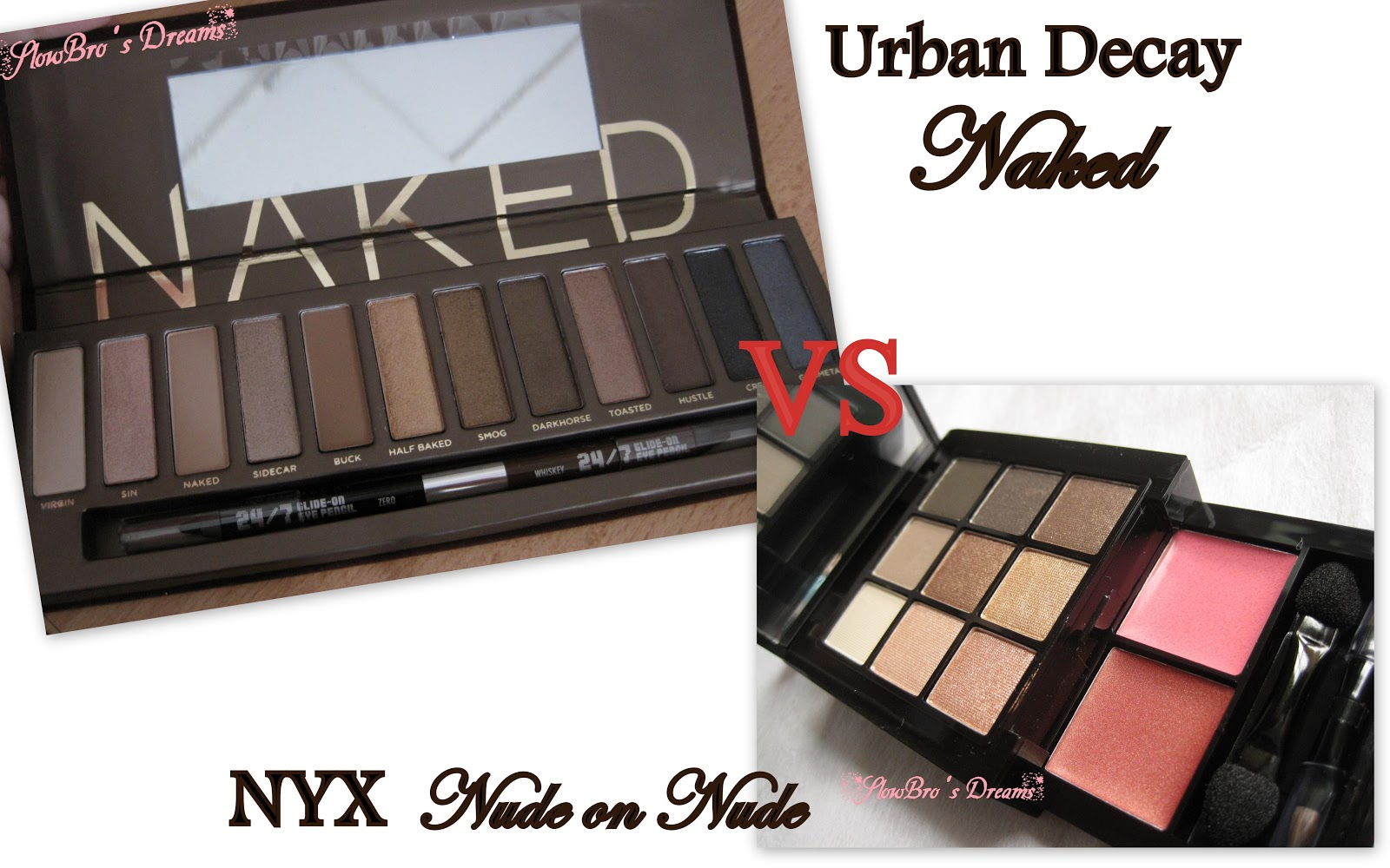 Urban Decay Naked Palette vs. NYX Nude on Nude Natural