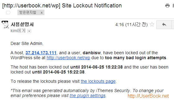 wordpress Site Lockout Notification email