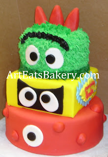 Three tier custom Yo Gabba Gabba custom unique fondant kids birthday cake design