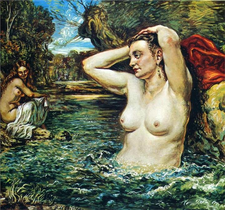 Giorgio de Chirico - Nymphs bathing, 1955