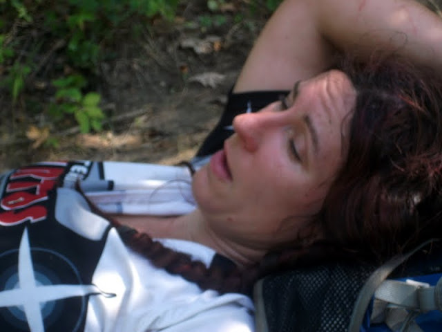 Exhausted after ascending during an adventure race