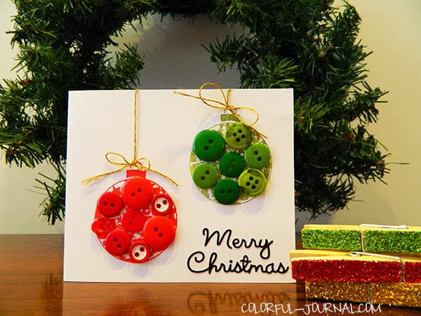 christmas card balls stamp mistletoe bo bunny buttons red green