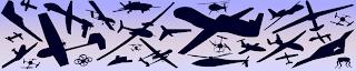 Grafik: Verschiedene Drohnentypen als Silhouetten vor blauem Hintergrund.