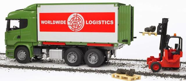 Xe container và xe nâng mã BRU03580 có thể chơi trong nhà hoặc ngoài trời